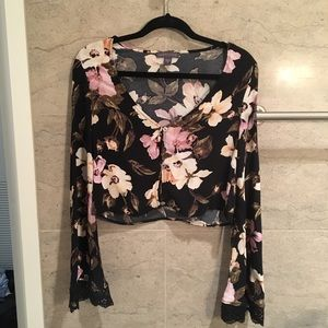 Pacsun Kendall and Kylie floral bell sleeve top